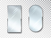 Mirrors set isolated. Metal frames for decor. Realistic 3D design