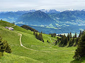 Trails for walking, hiking, sports and recreation on the slopes of the Pilatus massif and in the alpine valleys at the foot of the mountain, Alpnach - Canton of Obwalden, Switzerland (Schweiz)