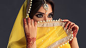 Big black eyes above the veil. Indian tradition woman dress, henna-tattoo and stylish makeup.