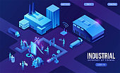 Industrial internet of things  infographic illustration, blue neon concept with factory, electric power station, cloud 3d isometric icon, smart transport system, mining machines, data protection