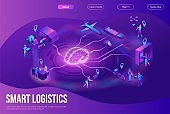 Isometric delivery service with truck at warehouse illustration, smart logistics company landing page, shipment by plane, car, maritime transport, by postal drone, people receive parcel at packstation
