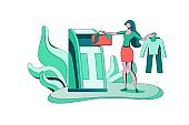 Clothes recycling concept, girl puts bag into container, textile recycle, people donate clothing, ecology flat cartoon illustration, eco background