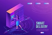 Girl receive parcel from packstation, post delivery concept, landing page template, ui design, 3d isometric vector illustration of postamat terminal, automated self service machine, purple background