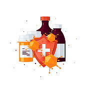 Pharmacy bottles vector concept in cartoon style