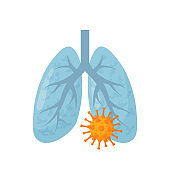 Lung disease concept in cartoon style, vector