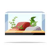 Fish tank aquarium vector isolated illustration