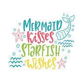 Mermaid cartoon vector illustration. Summer inspirational lettering phrase.