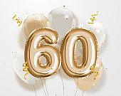 Happy 60th birthday gold foil balloon greeting background.