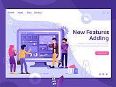 Web Site New Features Presentation Flat Concept