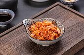 Kimchi on wooden table, Korean