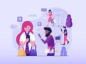 Positive Customer Feedback Online Business Illustration in Flat