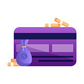 Credit Card Payment Icon in Flat Design