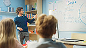 Teacher Explains Lesson to a Classroom Full of Bright Diverse Children, Shows Scientific Formulas and Data on the Whiteboard. In Elementary School with Group of Smart Kids Learning Science.