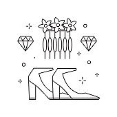 Bridal Heeled Shoes Icon in Line Art