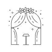 Wedding Ceremony Arch Icon in Line Art
