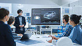 On a Meeting Asian Specialist Reports to a Group of Engineers, Managers, Presents New Electrical Car Concept, Using Digital Whiteboard. Electric Car Development, Factory.