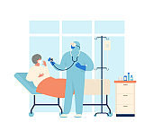 Coronavirus patient is in hospital. Novel coronavirus (2019-nCoV), people in protective special clothingwhite and medical face mask. Concept of coronavirus quarantine vector illustration.