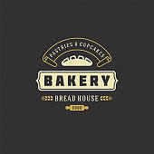 Bakery badge or label retro vector illustration bread or loaf silhouette for bakehouse