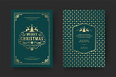 Christmas greeting card vintage typographic design ornate decorations with holidays wish