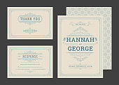 Set wedding invitations flourishes ornaments cards