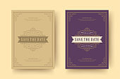 Wedding invitation save the date card template flourishes ornaments vignette swirls