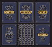 Vintage ornament greeting cards set templates flourish ornate frames and pattern background vector illustration