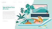 Couple spend summer vacation at swimming pool during quarantine. Vacation simulation and indoor recreation. Landing page template. Vector illustration.