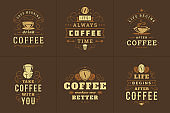 Coffee quotes vintage typographic style inspirational phrases vector illustrations set