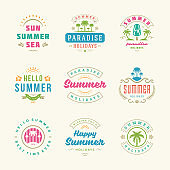 Summer holidays labels and badges retro typography design set