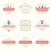 Christmas quotes labels and badges vector design elements set