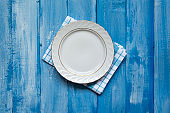 Empty plate with napkin
