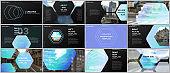 Minimal presentations design, portfolio vector templates with hexagonal design blue color pattern background. Multipurpose template for presentation slide, flyer leaflet, brochure cover, report.