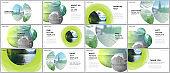 Presentation design vector templates, multipurpose template for presentation slide, flyer, brochure cover design, infographic report presentation. Abstract green fresh fluid geometric design.