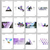 Creative brochure templates with triangular design background, triangle style pattern. Covers design templates for flyer, leaflet, brochure, report, presentation, advertising, magazine.