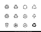 Recycle symbol. Recycling vector icons editable line set