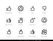 Thumb Up Editable Line Icons.