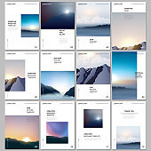 A4 brochure layout of covers templates for flyer leaflet, A4 brochure design, presentation, magazine, book. Fog, sunrise in morning and sunset in evening. Nature landscape backgrounds with mountains.