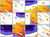 Brochure layout of square format covers design templates for square flyer leaflet, brochure design, report, presentation, magazine cover. Minimal colorful geometric backgrounds with dynamic shapes.