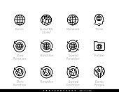 Set of Earth, Global, World, Network vector icon editable line illustration