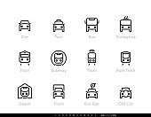 City Transport line vector icons. Car, Bus, Trolleybus, Subway, Tram and Eco Car. Editable outline set