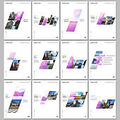 Creative brochure templates with colorful gradient geometric background. Covers design templates for flyer, leaflet, brochure, report, presentation, advertising, magazine.
