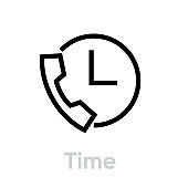 Time call icon. Editable line vector.
