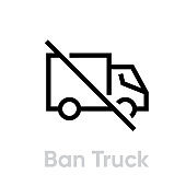 Ban Truck Delivery icon. Editable line vector.