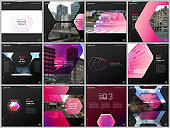 Minimal brochure templates with hexagonal design pink color pattern background. Covers design templates for square flyer, leaflet, brochure, report, presentation, advertising, magazine.