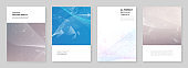 A4 brochure layout of covers templates for flyer leaflet, A4 brochure design, report, presentation, magazine cover, book design. Wave flow background for science or medical concept design.