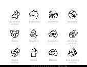 Support Australia on Fire vector icons. Donate for Australia, Koala, Oceania. Editable line.
