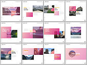 Minimal brochure template with trendy fresh colorful geometric design. Covers design templates for square flyer, leaflet, brochure, presentation, magazine, blog, social media advertising, online promo