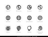 Globe and Continents Editable Line Icons