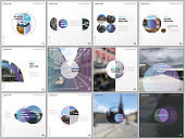 Minimal brochure templates with violet color circles, round shapes. Covers design templates for square flyer, leaflet, brochure, report, presentation, blog, advertising, magazine for blogging.