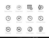 Task and Time icons set. Clock, Calendar, Meeting, 24 hours, Time, 48h, Lapse editable line vector illustration on white background.